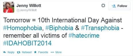 Jenny Willott MP tweets for IDAHOBIT